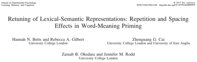 New Paper in Journal of Experimental Psychology: Learning